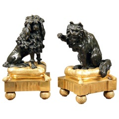 Cute Pair of Late 19th Century Gilt and Patina Bronze Chenets / Bookends