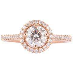 Cute Red Gold Solitaire Ring with Diamonds