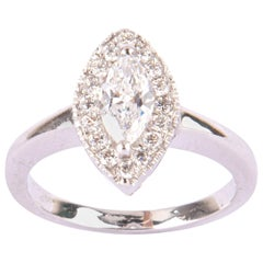 Cute Solitaire White Gold ring with Marquise Diamond