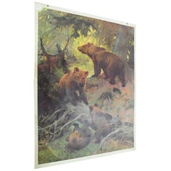 Cute Vintage Printed Wall Chart Family of Brown Bears