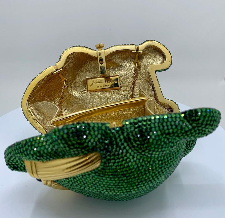 Cutest Judith Leiber Green Crystal Frog Minaudiere Evening Bag  For Sale 7
