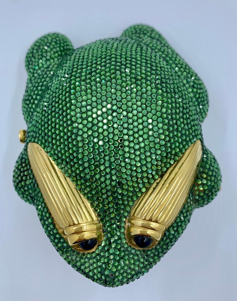 Black Cutest Judith Leiber Green Crystal Frog Minaudiere Evening Bag  For Sale