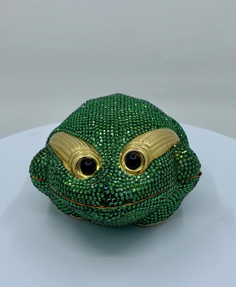 Women's Cutest Judith Leiber Green Crystal Frog Minaudiere Evening Bag  For Sale
