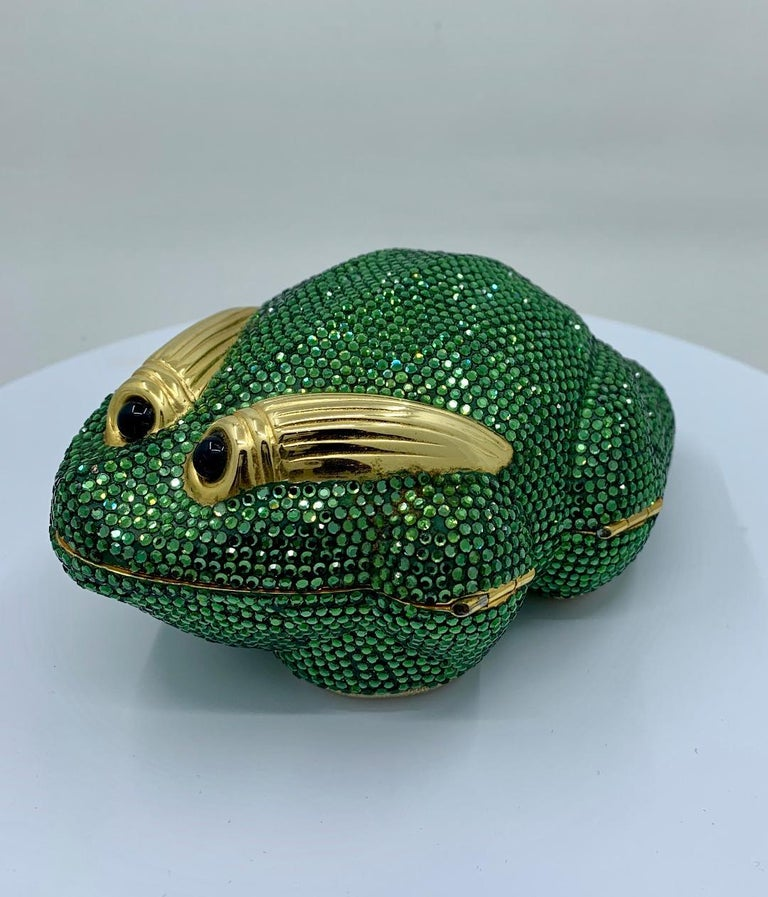 Cutest Judith Leiber Green Crystal Frog Minaudiere Evening Bag  For Sale 1