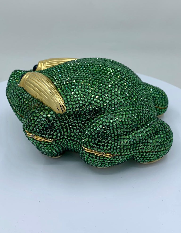 Cutest Judith Leiber Green Crystal Frog Minaudiere Evening Bag  For Sale 2