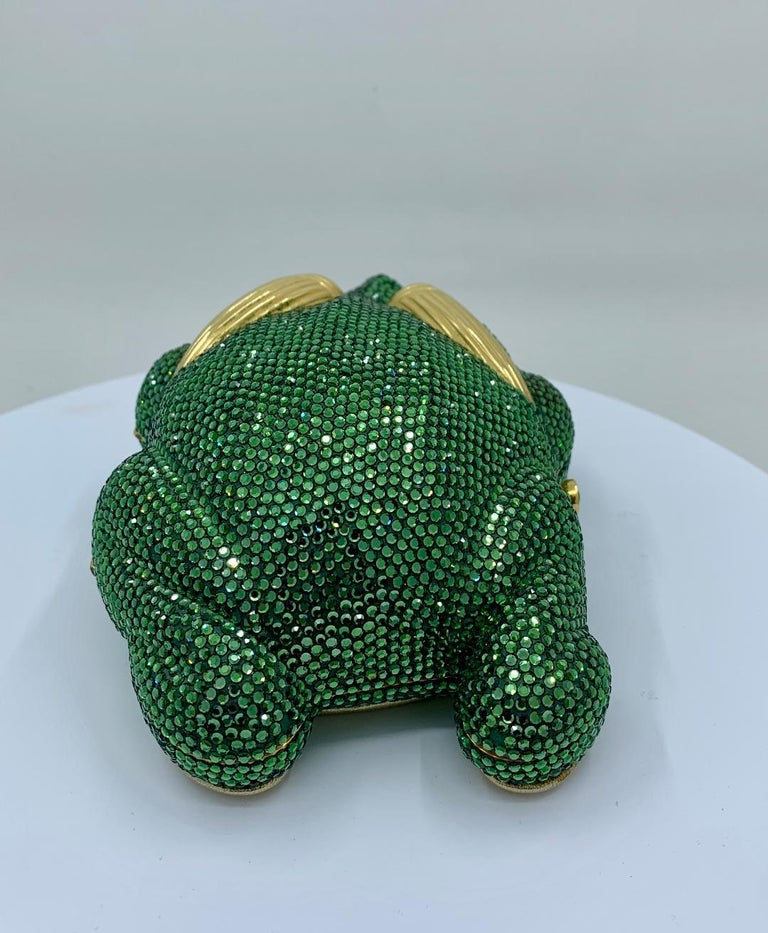 Cutest Judith Leiber Green Crystal Frog Minaudiere Evening Bag  For Sale 3
