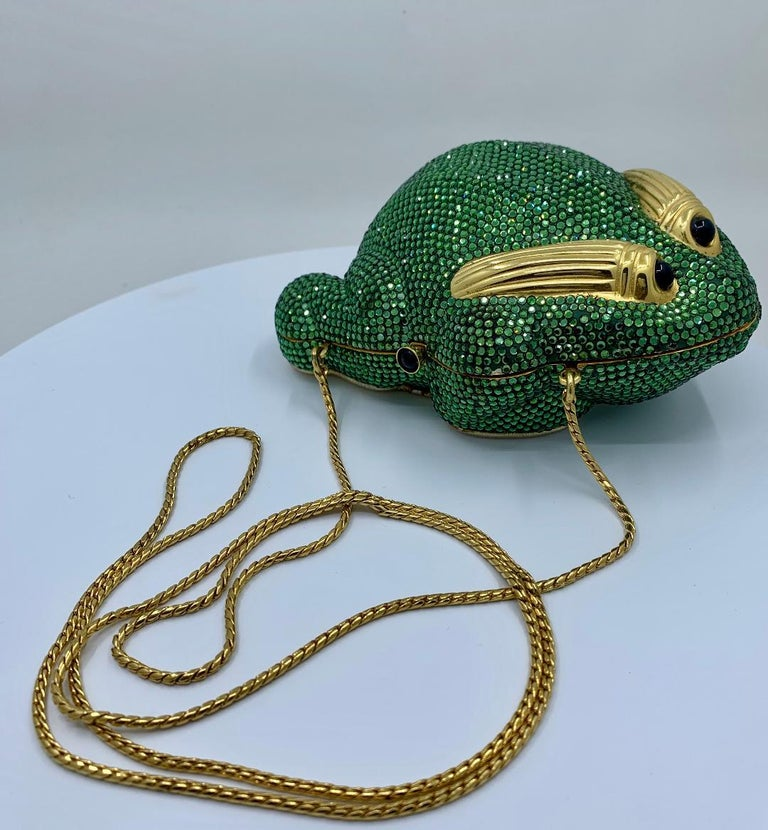 Cutest Judith Leiber Green Crystal Frog Minaudiere Evening Bag  For Sale 4