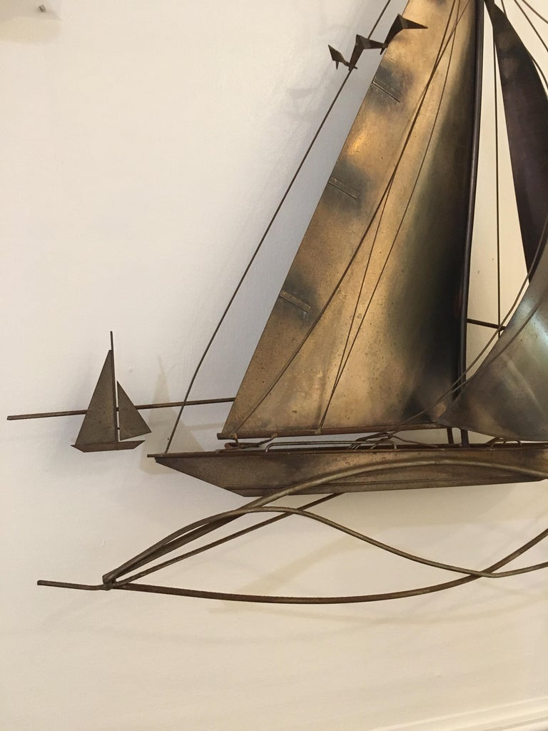 North American Cutis Jeré Brutalist Brass Sailboat Sculpture, 1977 For Sale