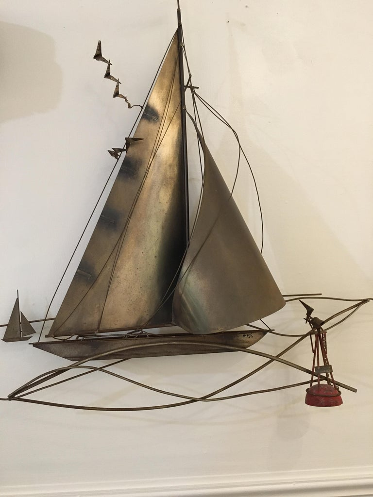 Cutis Jeré Brutalist Brass Sailboat Sculpture, 1977 For Sale 3