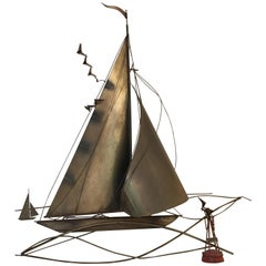 Cutis Jeré Brutalist Brass Sailboat Sculpture, 1977