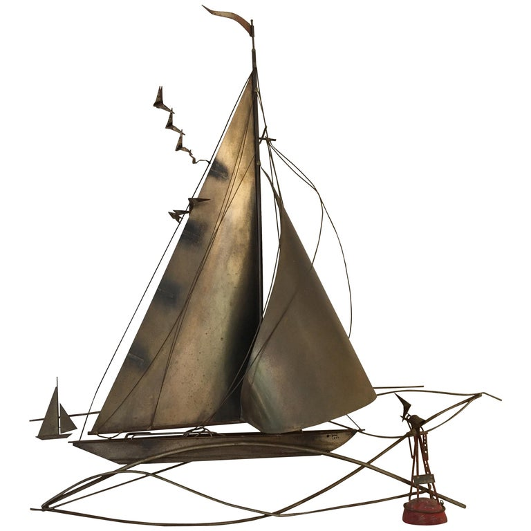 Cutis Jeré Brutalist Brass Sailboat Sculpture, 1977 For Sale
