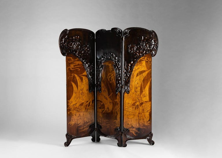 Rare and fine piece of Italian Art Nouveau. Carved maple, walnut, mahogany and satinwood. Overall: Height: 71.75