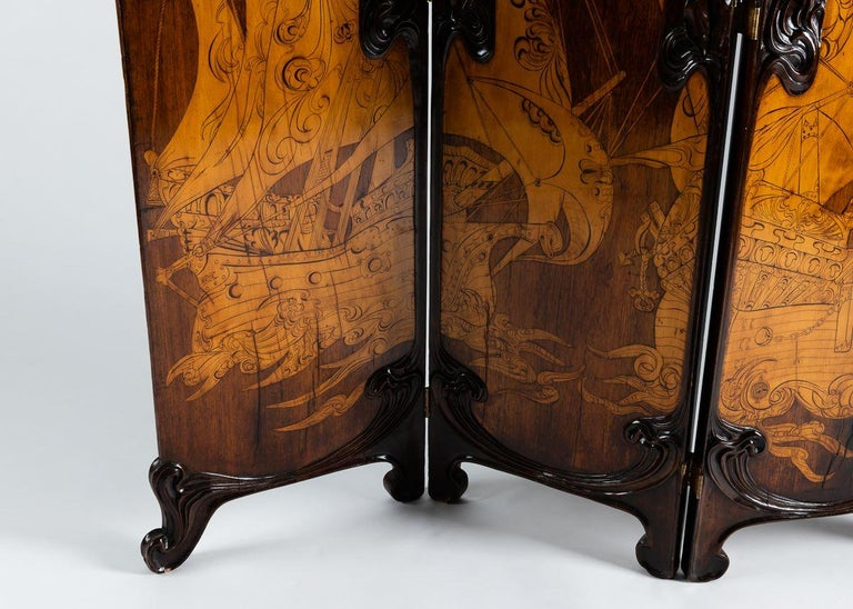 20th Century Cutler & Girard, Three-panel screen, Italy, 1902 For Sale