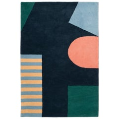 Cutout Rug Contemporary Geometric Landscape Hand-Tufted Wall Hanging Tapestry
