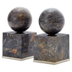 Cuyo Large Alpaca Silver & Black Onyx Stone Pair of Bookends