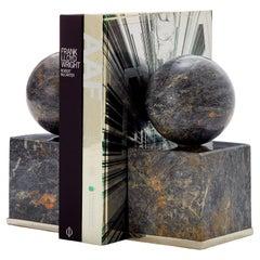 Cuyo Medium Alpaca Silver & Black Onyx Stone Pair of Bookends
