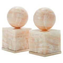 Cuyo Medium Alpaca Silver & Cream Onyx Stone Pair of Bookends
