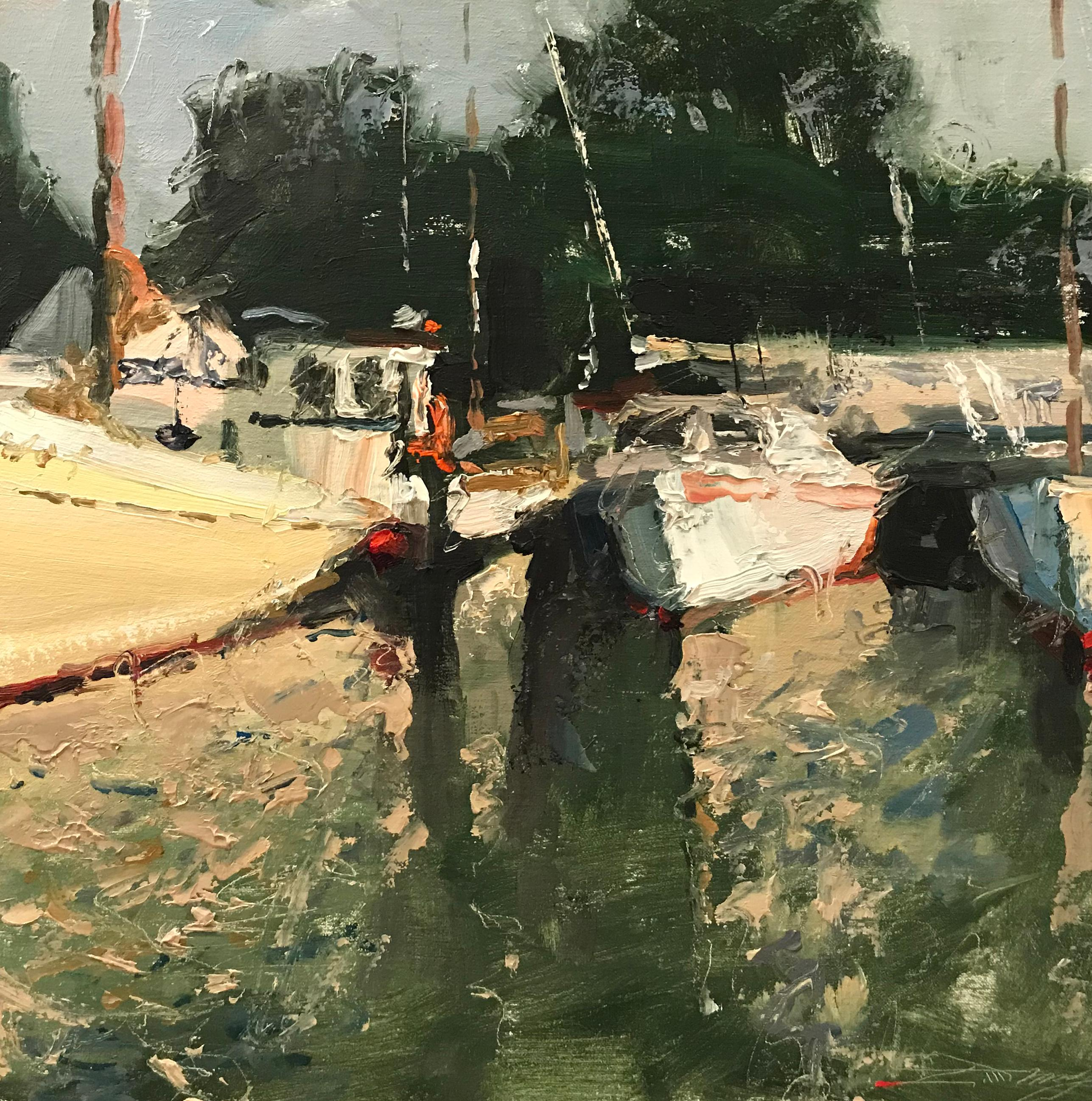 """""""Boats at Saint Michaels,"""" Oil Painting"""