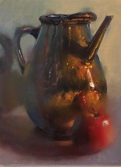 """""""French Copper Sprinkler & Apple,"""" Oil Painting"""