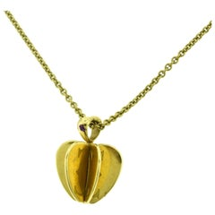 Cxartier Double C Apple Heart 3D 18 Karat Yellow Gold Pendant Necklace
