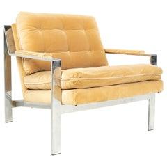 Cy Mann Midcentury Chrome Flatbar Lounge Chair