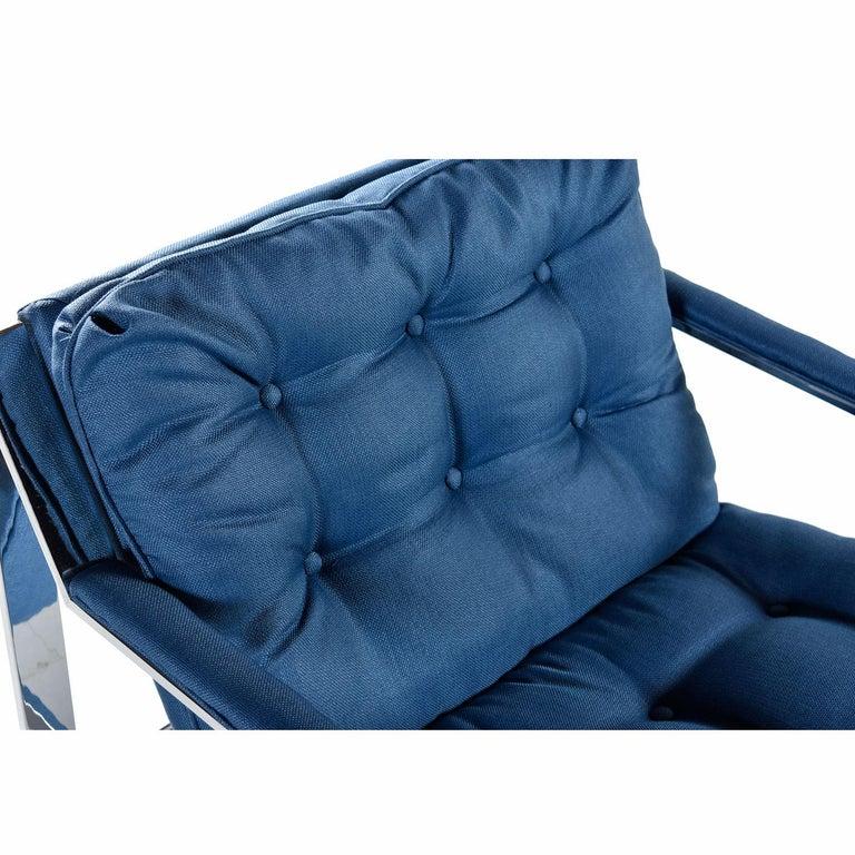 Polished Cy Mann Mid-Century Modern Milo Baughman Style Flat Bar Lounge Chair For Sale