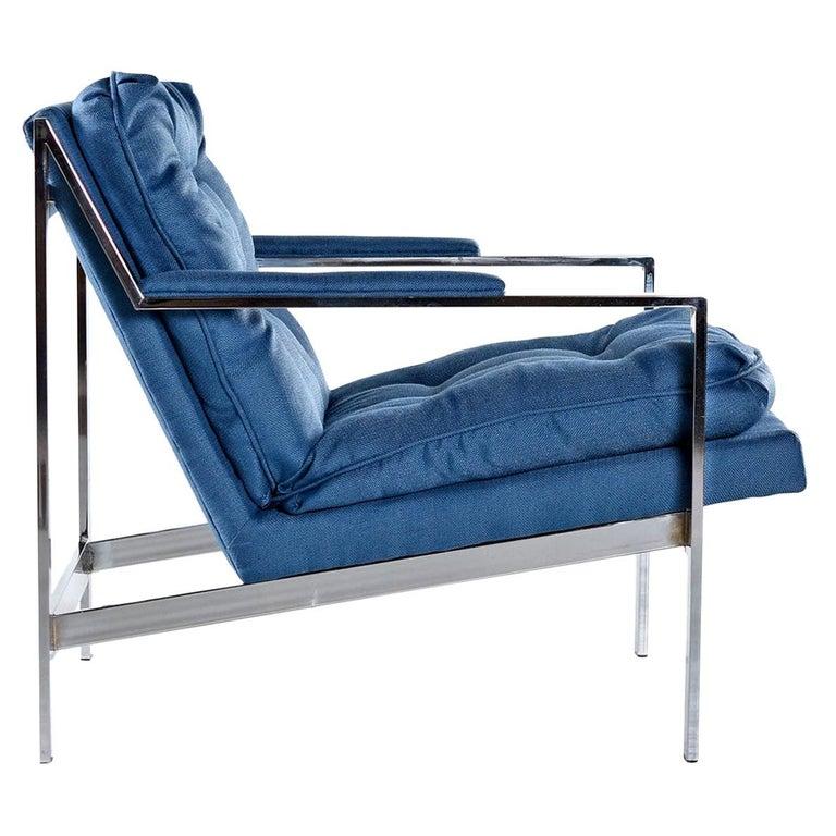 Cy Mann Mid-Century Modern Milo Baughman Style Flat Bar Lounge Chair For Sale