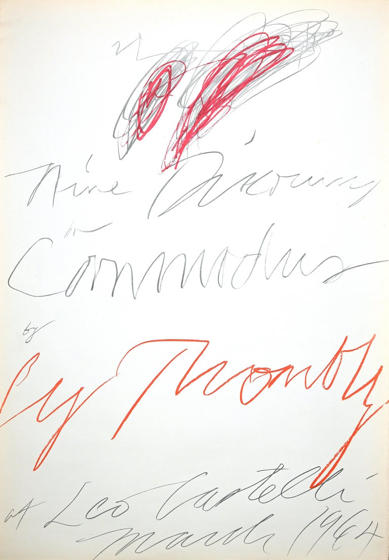 Poster study for nine discourses on Commodus by Cy Twombly at Leo Castelli. Overleaf: Leo Castelli 4 East 77th New York 21. CY Twombly Marc 14th to April 10th 1964.   Original Lithograph signed on plate.  Nine discourses on Commodus (1963) is a