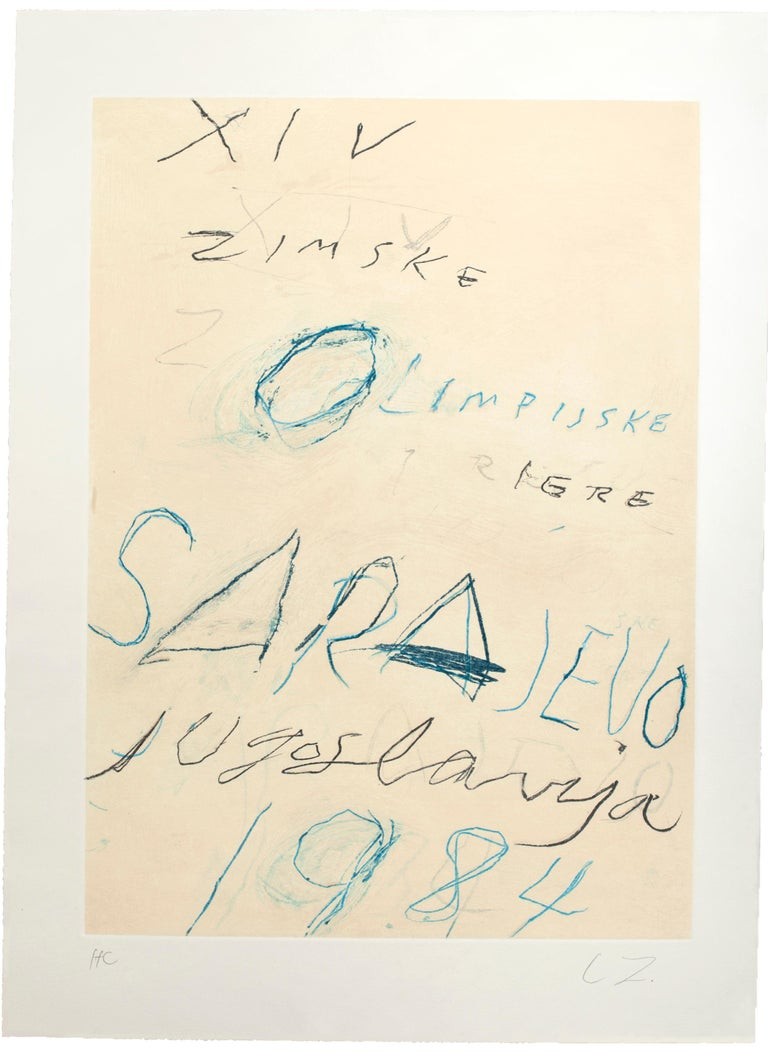 """Untitled, from the """"Art and Sports"""" portfolio, 1984 is an etching with aquatint and lithograph in colors realized by Cy Twombly on the occasion of the Winter Olympics Games 1984 in Sarajevo. Image dimensions: 75.3x54.7 cm Published by Visconti Art"""