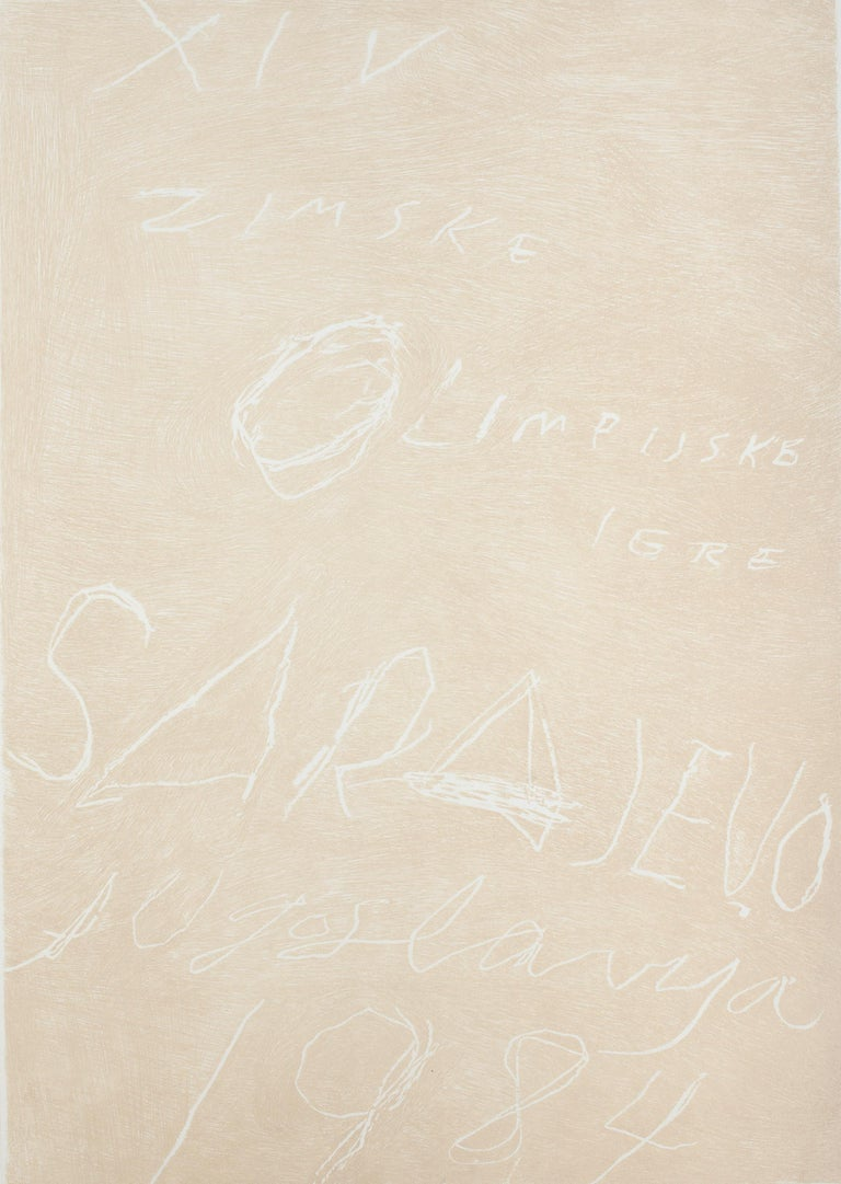 Sarajevo, Winter Olympics - Rare Artist Proof Before the Color -Cy Twombly- 1984 - Contemporary Print by Cy Twombly