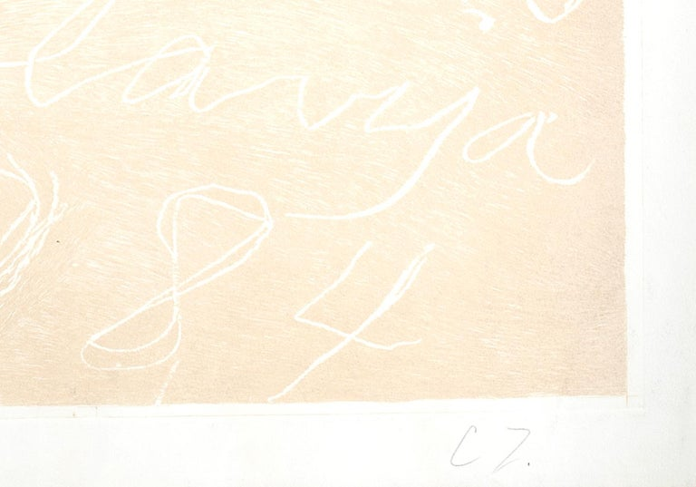 Sarajevo, Winter Olympics - Rare Artist Proof Before the Color -Cy Twombly- 1984 - White Abstract Print by Cy Twombly