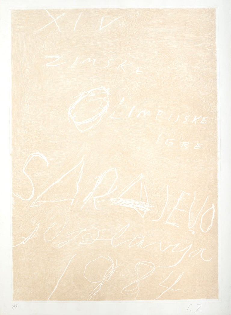Sarajevo, Winter Olympics - Rare Artist Proof Before the Color -Cy Twombly- 1984 - Print by Cy Twombly