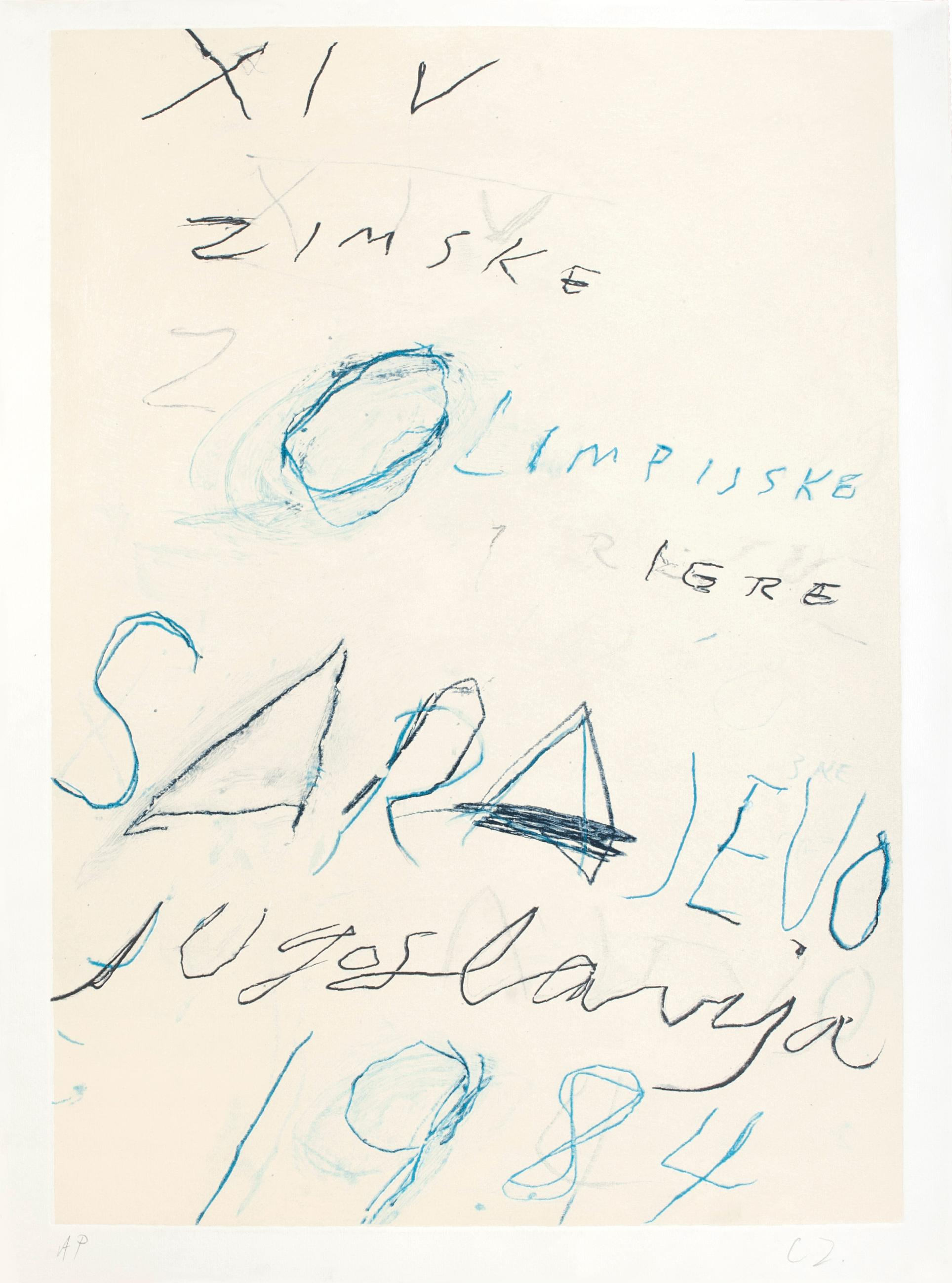 Untitled - Sarayevo Winter Olympic Games - Original Mixed Media by Twombly 1984