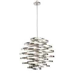 Cyclone Chandelier Chromed Aluminum, Italy, 1970s