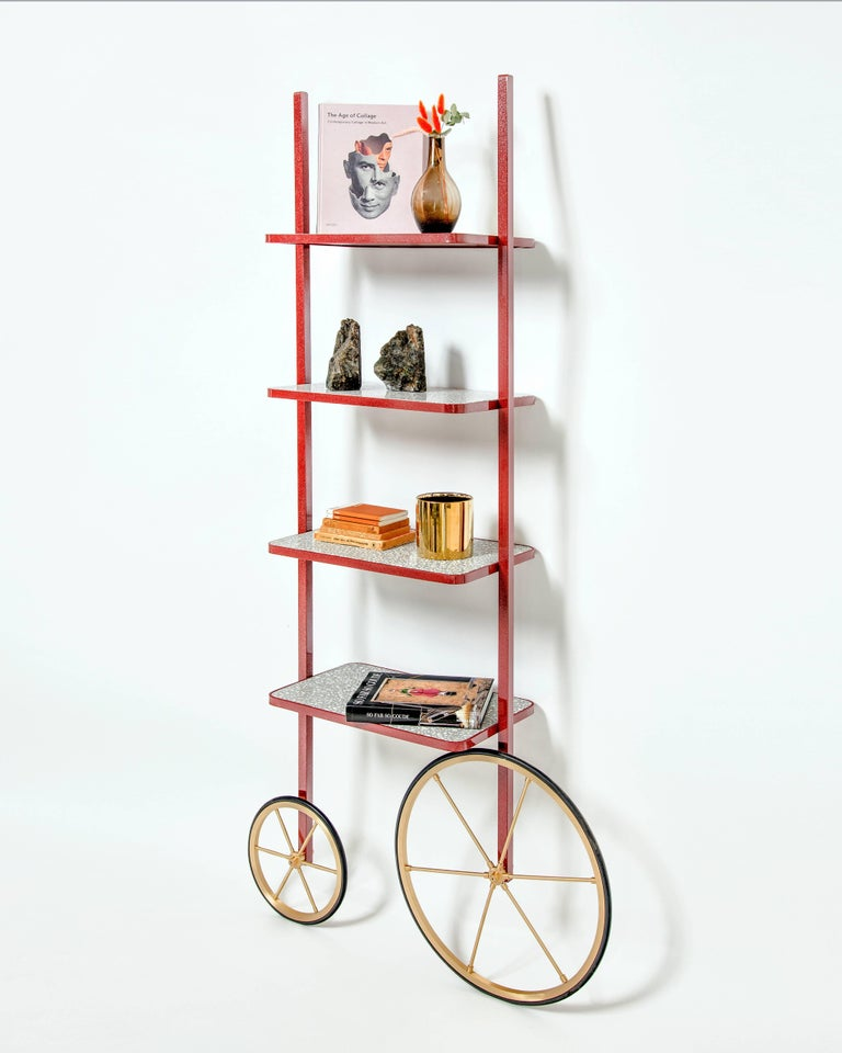 Arts and Crafts Cyclopedia Bookshelf in Bordeaux Powder Coated Metal and Gray Terrazzo For Sale