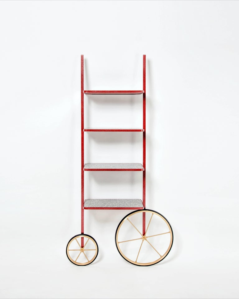 Cast Cyclopedia Bookshelf in Bordeaux Powder Coated Metal and Gray Terrazzo For Sale