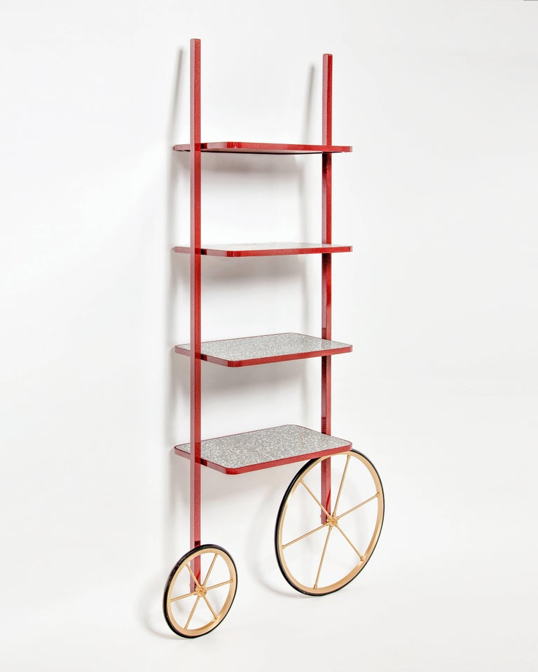 Cyclopedia Bookshelf in Bordeaux Powder Coated Metal and Gray Terrazzo In New Condition For Sale In Istanbul, TR