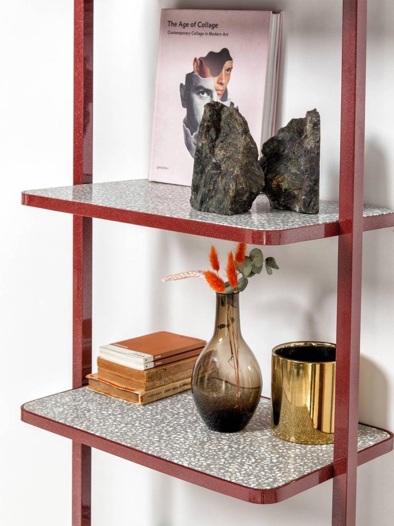 Cyclopedia Bookshelf in Bordeaux Powder Coated Metal and Gray Terrazzo For Sale 1