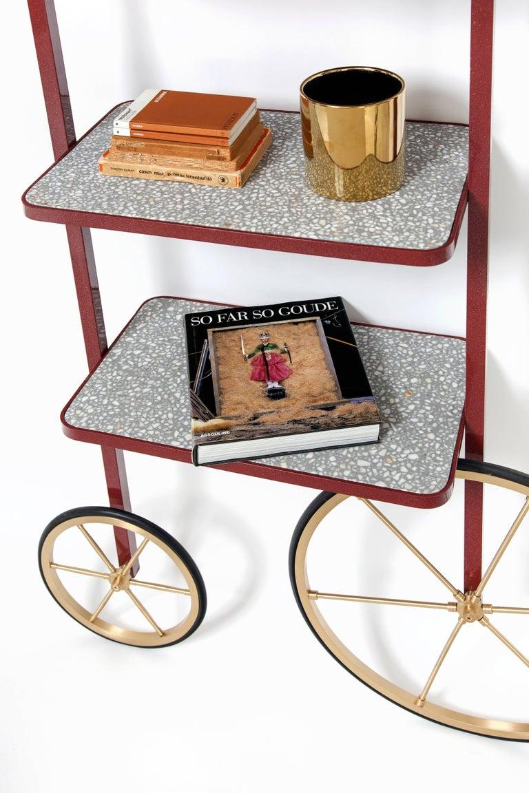 Cyclopedia Bookshelf in Bordeaux Powder Coated Metal and Gray Terrazzo For Sale 2