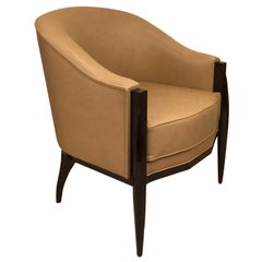 Cygal Art Deco Chair in Walnut after Ruhlmann Design, Handcrafted in Germany