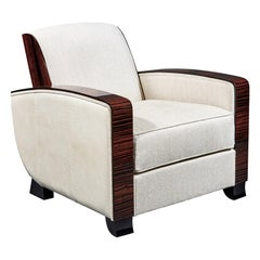 Cygal Art Deco Club Chair in Macassar Ebony, Off White Dedar Textile