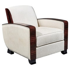 Cygal Art Deco Macassar Ebony Club Chair, Off-White Dedar Upholstery, in Stock