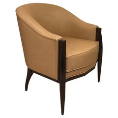Cygal Art Deco Walnut Armchair after Ruhlmann Design, in Stock, Available Now