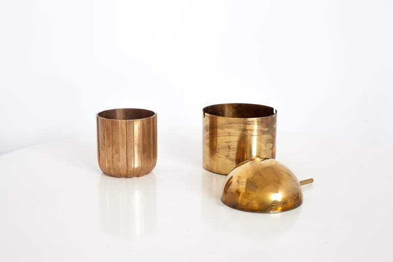 Danish Cylinda-Line Brass Ashtray by Arne Jacobsen X Stelton with Brass