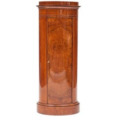Cylinder Burl Walnut Pedestal Cabinet, Copenhagen, 1830-1840