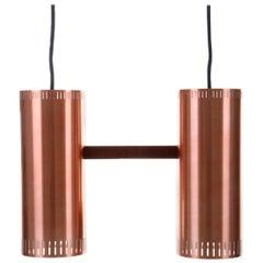 Cylinder II, Copper Pendant Light 'Mint' by Jo Hammerborg Fog & Morup in 1966