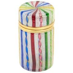 Cylindrical 20th Century Italian Murano Glass Multicolored Box
