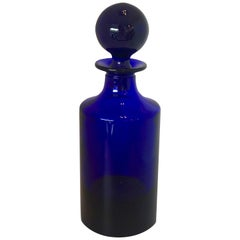 Cylindrical Cobalt Blue Cast Glass Decanter with Large Ball Stopper