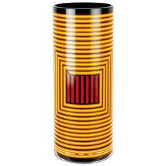 Cylindrical Colored Handmade Italian Glass Vase by Sottsass Associati