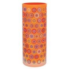 Cylindrical Colored Handmade Italian Glass Vase by Sottsass Associati